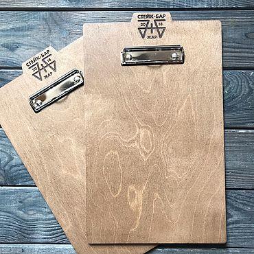 Канцелярские товары ручной работы. Ярмарка Мастеров - ручная работа Планшет из дерева с логотипом для меню А4. Handmade.