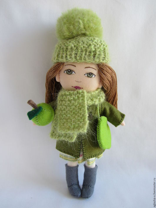 Коллекционные куклы ручной работы. Ярмарка Мастеров - ручная работа. Купить Яблоко. Handmade. Зеленый, развивающая игрушка, шерсть