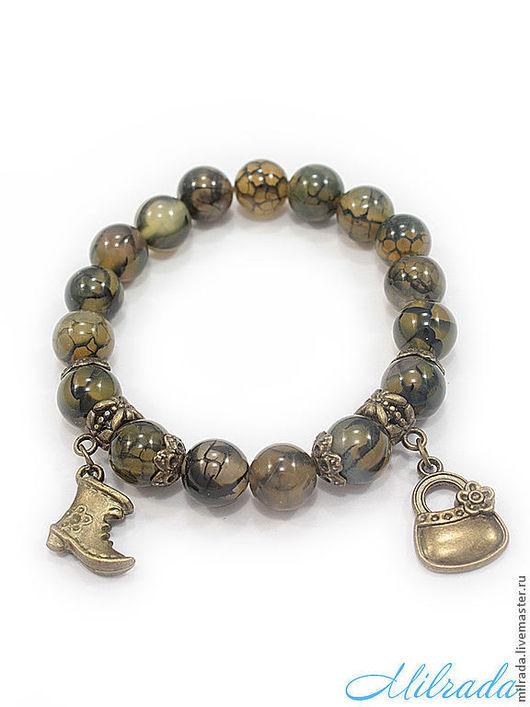 Фото браслет из натурального камня. Браслет из агата с подвеской. Украшения ручной работы от Milrada