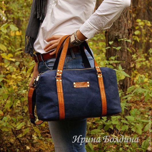 """Женские сумки ручной работы. Ярмарка Мастеров - ручная работа. Купить Кожаная синяя сумка """"Azure"""". Handmade. Кожаная сумка"""