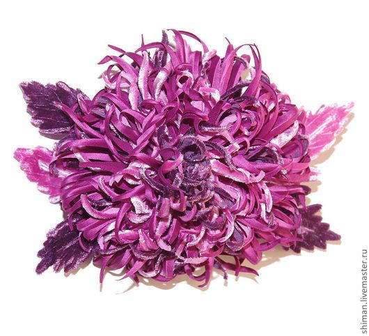 Броши ручной работы. Ярмарка Мастеров - ручная работа. Купить Хризантема из шелка и бархата.. Handmade. Фиолетовый, брошь из ткани