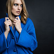 Одежда ручной работы. Ярмарка Мастеров - ручная работа SS2017 Темно-голубое пальто. Handmade.