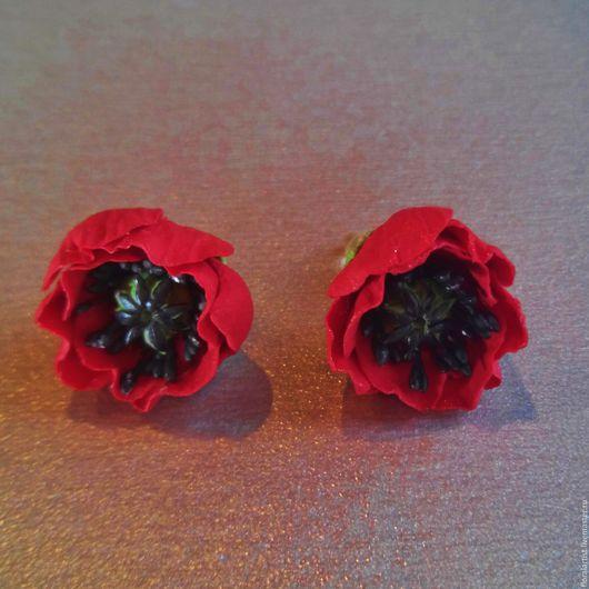 """Серьги ручной работы. Ярмарка Мастеров - ручная работа. Купить серьги """"Огненные маки"""". Handmade. Ярко-красный, красные цветы"""