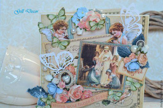 """Свадебные открытки ручной работы. Ярмарка Мастеров - ручная работа. Купить Свадебная открытка """"Невеста"""". Handmade. Бежевый, свадьба, розы"""