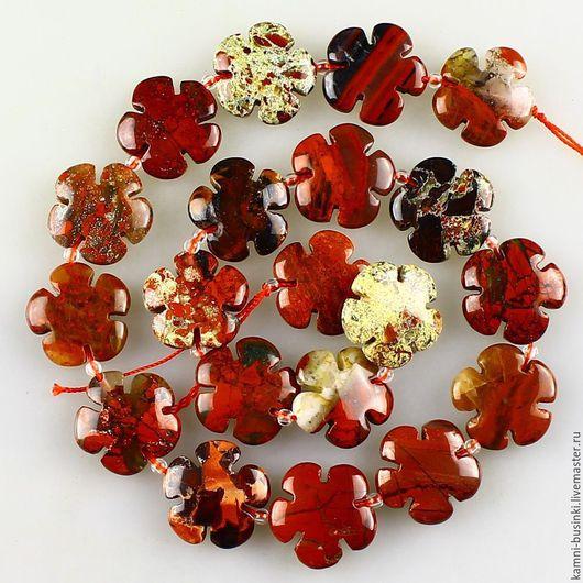 Для украшений ручной работы. Ярмарка Мастеров - ручная работа. Купить Шикарные резные бусины Поппи яшмы цветы. Handmade.