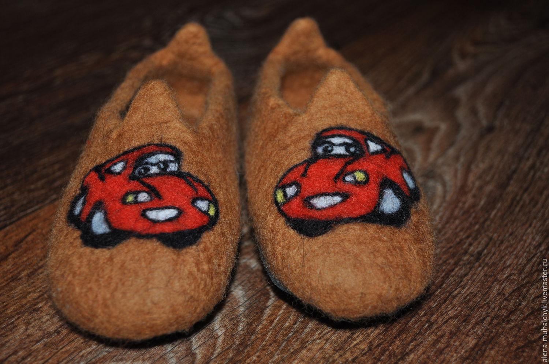 Обувь ручной работы. Ярмарка Мастеров - ручная работа. Купить Валяные тапочки тачки. Handmade. Коричневый, тапочки домашние