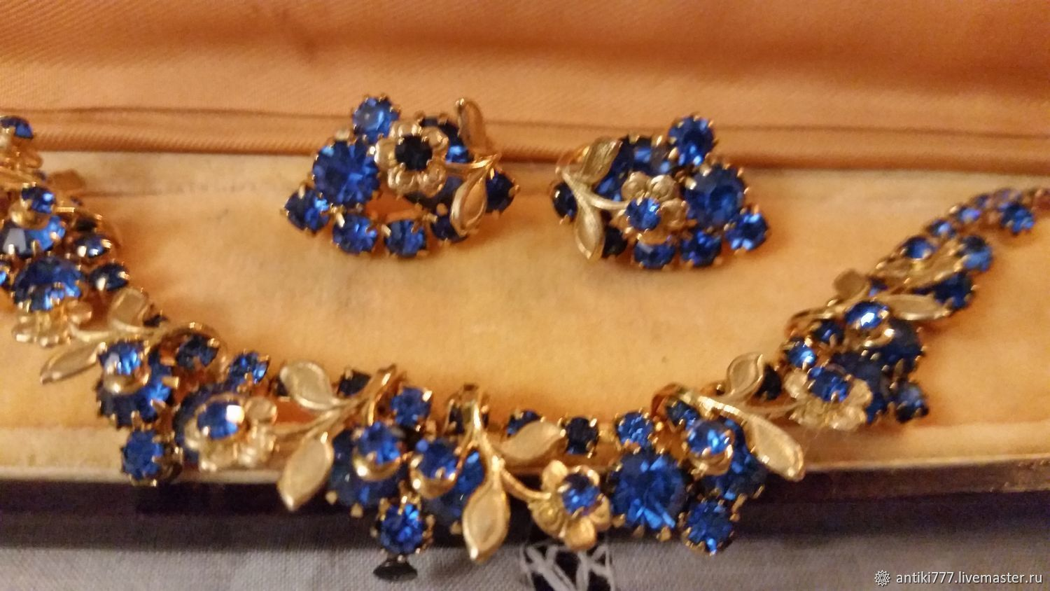 Vintage necklace and clip earrings with blue crystals rhinestone, Vintage necklace, Moscow,  Фото №1
