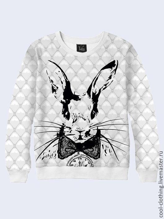 Кофты и свитера ручной работы. Ярмарка Мастеров - ручная работа. Купить Женская кофта Белый кролик с часами. Handmade. Разноцветный