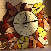 """Для дома и интерьера ручной работы. Ярмарка Мастеров - ручная работа Витражные часы""""Осеннее настроение"""". Handmade."""