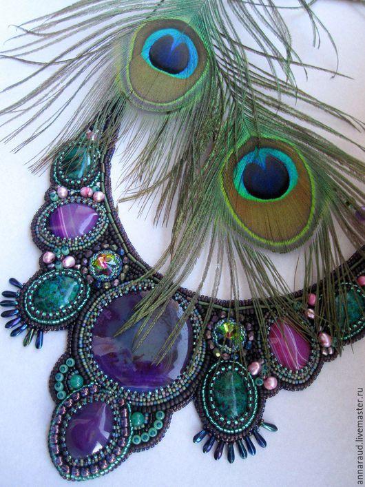 """Колье, бусы ручной работы. Ярмарка Мастеров - ручная работа. Купить Колье """"Райская птица"""". Handmade. Фиолетовый"""