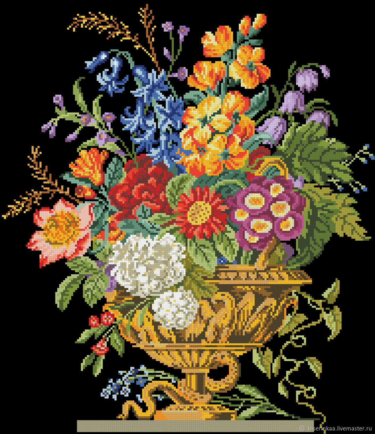 Reconstruction of the ancient scheme of embroidery ' Flowers in a vase', Patterns for embroidery, Taganrog,  Фото №1