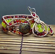 Украшения handmade. Livemaster - original item Stone beaded bracelet. Boho bracelet. 3 row leather cuff bracelet. Handmade.