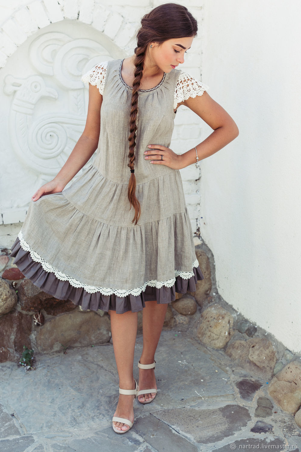 Linen summer dress with sestinas and lace, Dresses, Anapa,  Фото №1