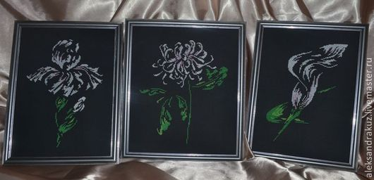 """Картины цветов ручной работы. Ярмарка Мастеров - ручная работа. Купить Триппих-""""Трио цветов"""". Handmade. Оливковый, зеленый, подарок"""