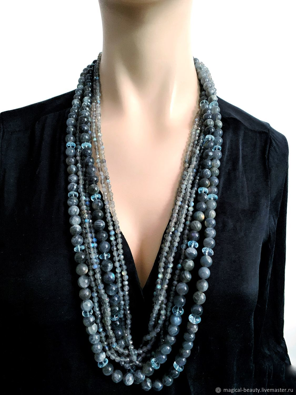 Necklace with labradorite and blue topaz ' Twilight', Necklace, Moscow,  Фото №1