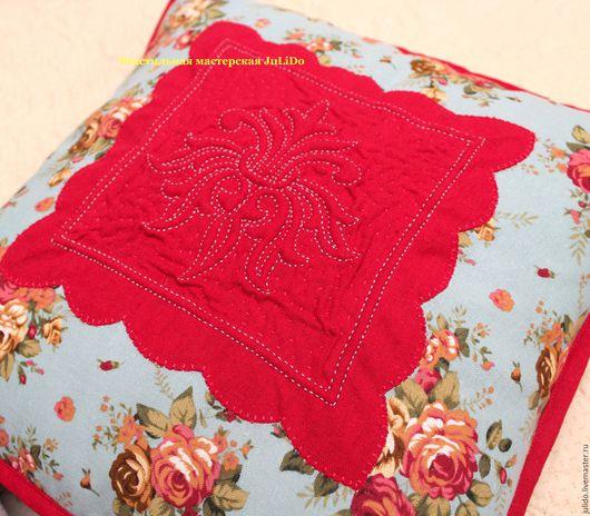 """Текстиль, ковры ручной работы. Ярмарка Мастеров - ручная работа. Купить Подушка """"Розы"""". Handmade. Ярко-красный, подушка, прованс"""