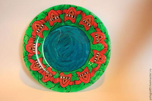 """Тарелки ручной работы. Ярмарка Мастеров - ручная работа. Купить Тарелка """"Совиный танец"""". Handmade. Тарелка, совы, картина, Живопись"""