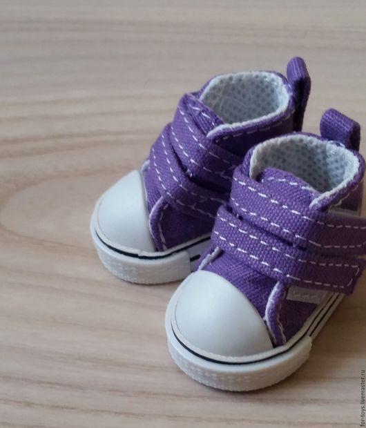 Кеды для игрушек 5 см. на липучках  Фиолетовые.  Обувь для кукол. Кеды для кукол