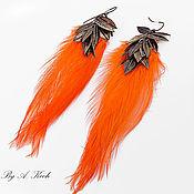 """Украшения ручной работы. Ярмарка Мастеров - ручная работа Серьги """"Оранжевая пташка"""". Handmade."""