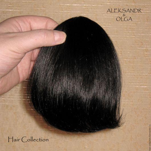 Накладная Чёлка light, чёлка - треугольник Чёрные прямые волосы
