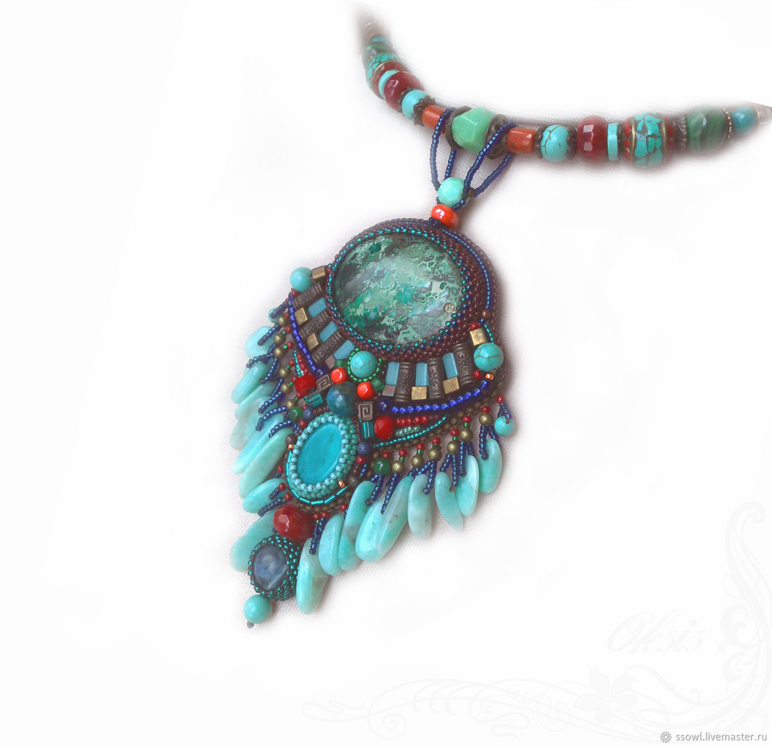 Turquoise ethno necklace (pendant) with pendants Chrysocolla, amazonite, coral, Necklace, Bryansk,  Фото №1