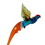 Для дома и интерьера ручной работы. Ярмарка Мастеров - ручная работа Интерьерное подвесное украшение из цветного стекла птица Фазан Lussu. Handmade.