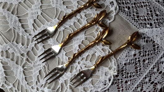Ложки ручной работы. Ярмарка Мастеров - ручная работа. Купить Десертные вилочки серебрение. Handmade. Серебряный, латунь, десертный стол