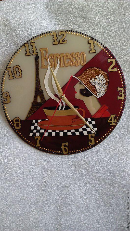 Часы для дома ручной работы. Ярмарка Мастеров - ручная работа. Купить Часы настенные кухонные Кофейная тема. Handmade. Коричневый