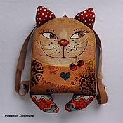 """Рюкзаки ручной работы. Ярмарка Мастеров - ручная работа Рюкзак детский из гобелена """"Кот с вишенками"""" текстиль кошка. Handmade."""