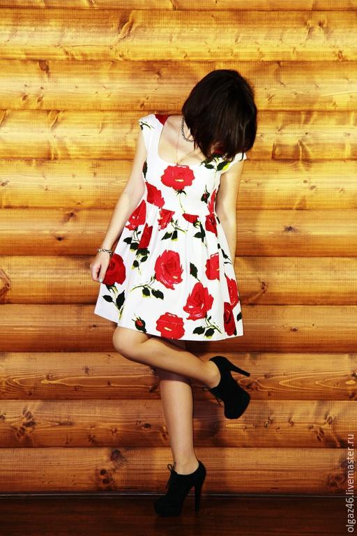 """Платья ручной работы. Ярмарка Мастеров - ручная работа. Купить Платье по колено без рукавов """"Розы"""". Handmade. Разноцветный"""