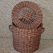 Для дома и интерьера ручной работы. Ярмарка Мастеров - ручная работа Плетеная корзинка с крышкой. Handmade.