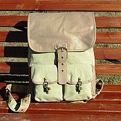Сумки и аксессуары handmade. Livemaster - original item Men`s backpack of genuine leather and linen textile MAGELLAN zel. Handmade.