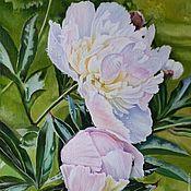 Картины и панно ручной работы. Ярмарка Мастеров - ручная работа Картина  маслом  пионы цветы