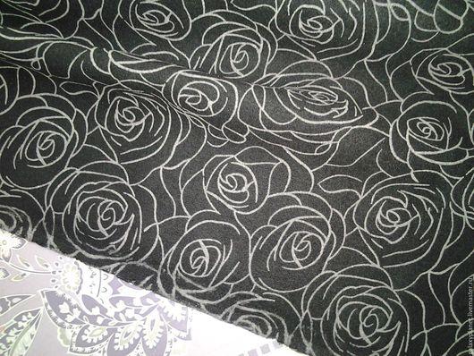 Шитье ручной работы. Ярмарка Мастеров - ручная работа. Купить Кашемир пальтовый черный с серыми розочками. Handmade. Черный