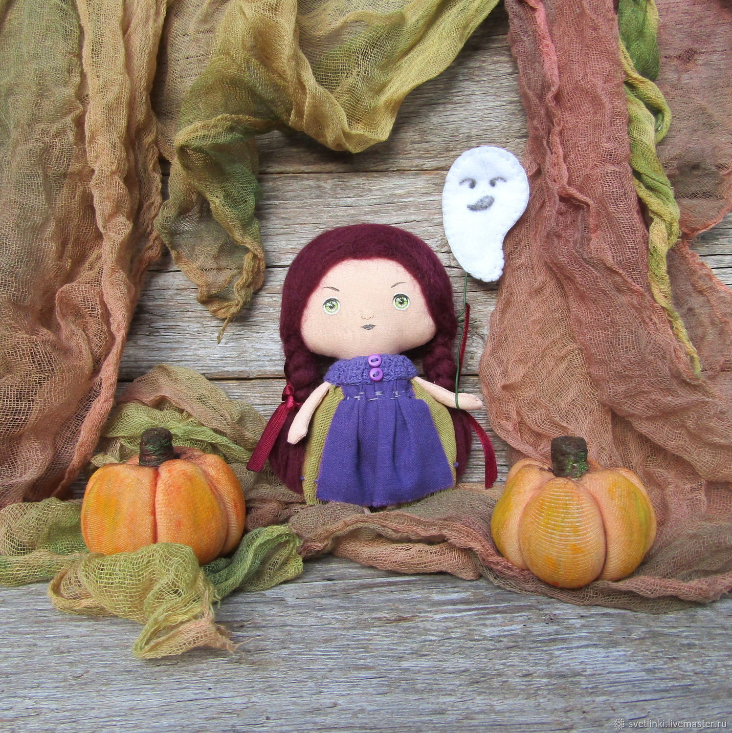 Set of Autumnal textile doll witch, pumpkin, runner – Halloween decor. Gifts for all ages. Svetlenky dolls and handmade toys. Fair Masters.