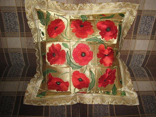 Текстиль, ковры ручной работы. Ярмарка Мастеров - ручная работа. Купить подушка с вышивкой. Handmade. Креп-сатин, нитки, сатин
