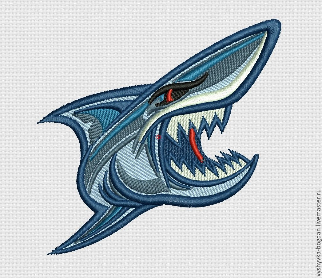Machine embroidery design `shark` bt022.
