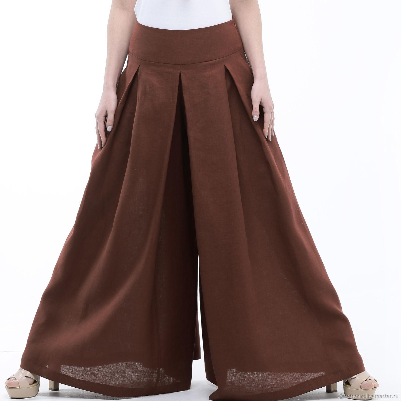 Chocolate skirt-pants made of 100% linen, Skirts, Tomsk,  Фото №1