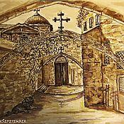 Картины и панно handmade. Livemaster - original item Coffee watercolor painting JERUSALEM. The entrance to the temple. Handmade.