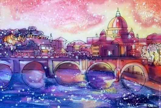 Пейзаж ручной работы. Ярмарка Мастеров - ручная работа. Купить Итальянский пейзаж... Handmade. Разноцветный, картина в подарок, шёлк