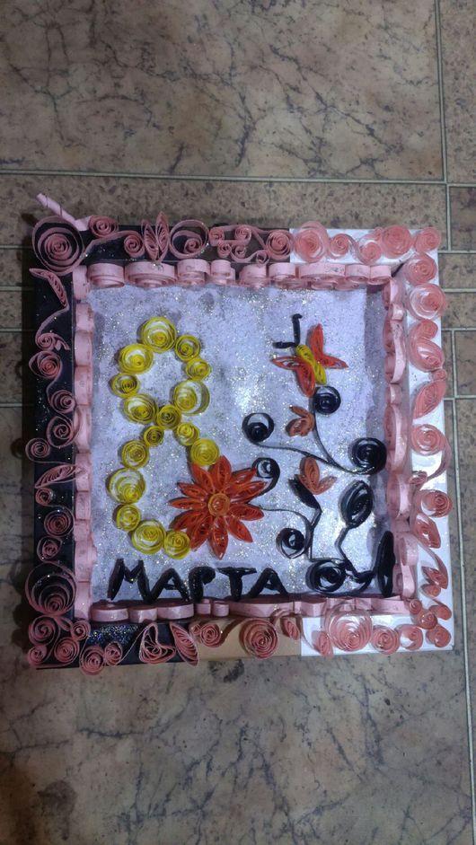 Открытки для женщин, ручной работы. Ярмарка Мастеров - ручная работа. Купить Картина-Открытка к дню 8 марта. Handmade.