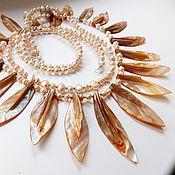 Украшения handmade. Livemaster - original item Necklace and bracelet Autumn Sun (mother of pearl, pearl). Handmade.