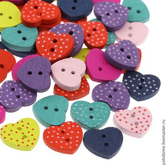 """Шитье ручной работы. Ярмарка Мастеров - ручная работа. Купить 0493 Пуговицы деревянные в горошек """"Сердечки"""" 7 цветов. Handmade."""