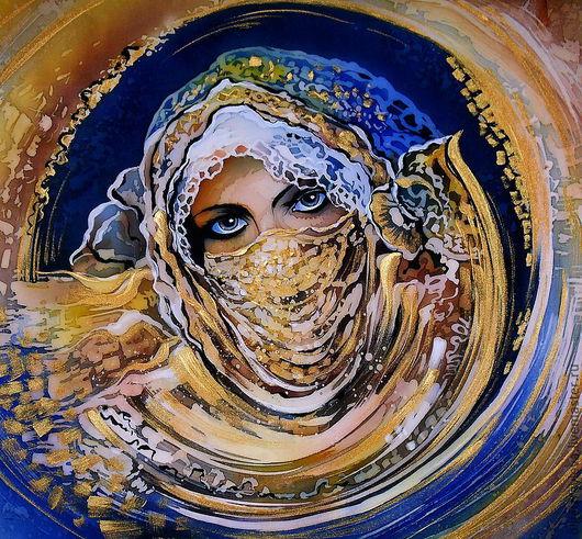 """Люди, ручной работы. Ярмарка Мастеров - ручная работа. Купить Батик панно из серии """"Прекрасные дивы"""". Handmade. Синий, золото"""