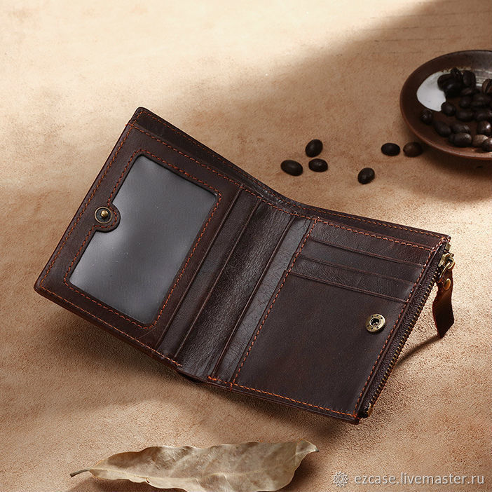 Leather wallet female and male Hypatius brown / Handmade, Wallets, Moscow,  Фото №1