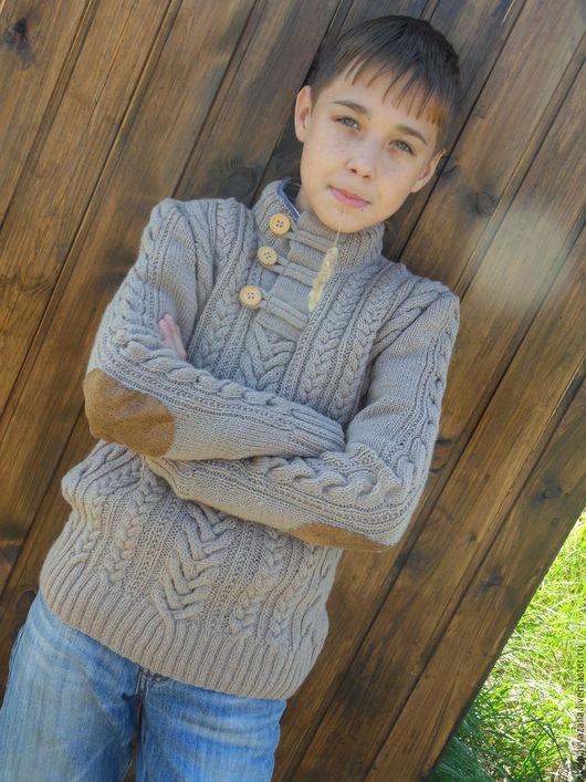 Для подростков, ручной работы. Ярмарка Мастеров - ручная работа. Купить Пуловер для мальчика с аранами. Handmade. Коричневый, пуловер вязаный