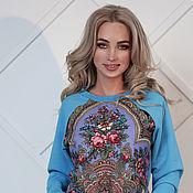 Одежда handmade. Livemaster - original item Sweatshirts: blue from Pavlovoposadsky shawl, warm sweatshirt. Handmade.