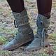 Обувь ручной работы. Ярмарка Мастеров - ручная работа. Купить Сапоги Мокасины из замши Хаки Унисекс. Handmade. Хаки