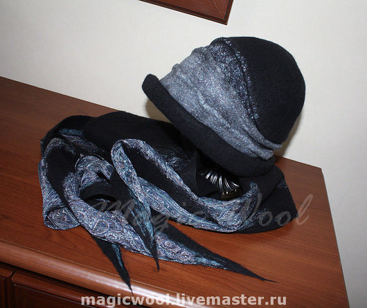 """Шляпы ручной работы. Ярмарка Мастеров - ручная работа. Купить Комплект """"Черно-белое кино"""". Handmade. Шляпка, серый, войлок"""