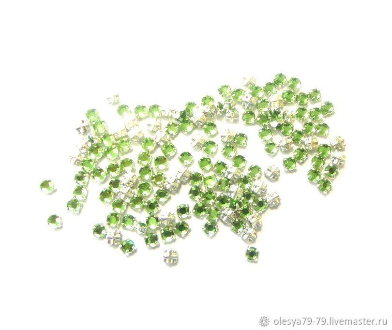 10 PCs Czech rhinestones in DAC Peridot ss12 3,0-3,2 mm prish cross, Rhinestones, Chelyabinsk,  Фото №1
